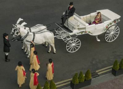 Arriving by horse and cart