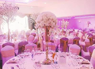 Wedding reception mauve and gold
